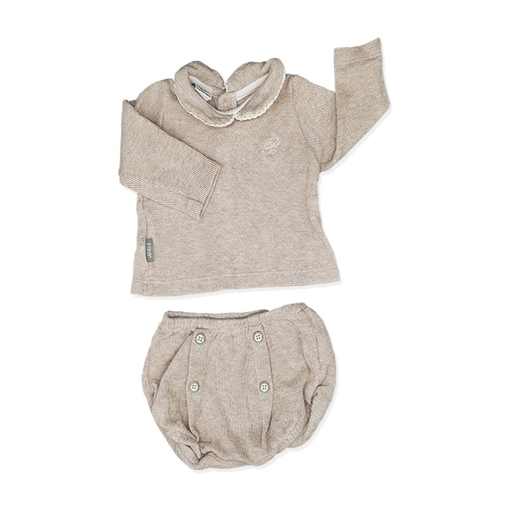 65a240b00a9f6 Ensemble Petit Bateau sweat shirt culotte marron bébé fille – yelaa
