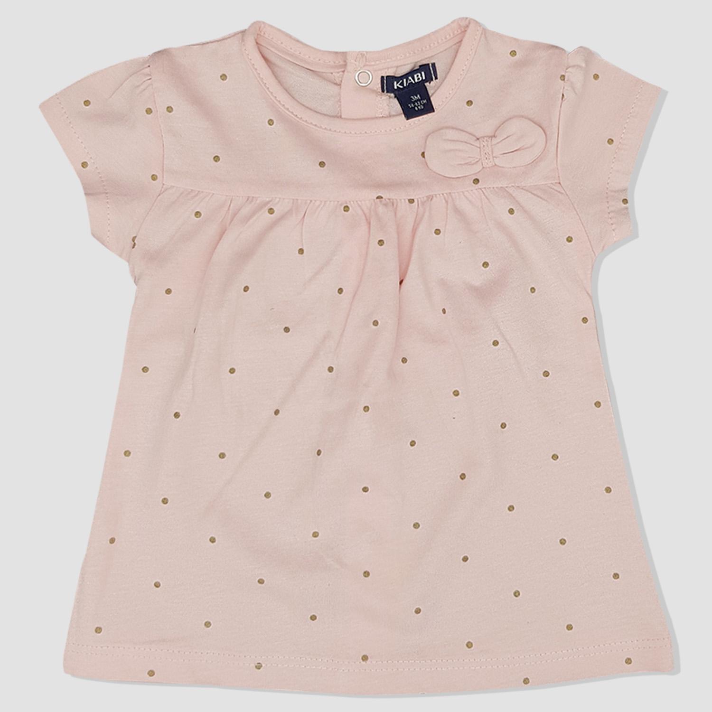 7bdb02308e0f3 T-shirt KIABI rose à pois doré bébé fille - yelaa